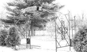 "Archway.  Mild steel. Painted finish. ""Executive Residence."", Madison, WI."
