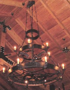 "Chandelier.  Mild steel, and copper.  Natural finish.  ""Bjorklunden Lodge"", Baileys Harbor, WI."