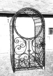Garden Gate.  Mild steel.  Private residence, Sister Bay, WI.