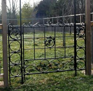 Orchard Gate. Mild steel.  Painted finish.  Private residence, Port Washington, WI.