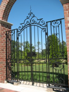 Poolside Gate.  Mild steel.  Painted finsish. Private residence, Mequon, WI.