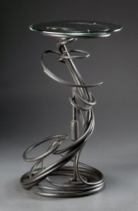 Plant Stand.  Mild steel.  Gilders Paste (TM) finish.  Artist's collection.