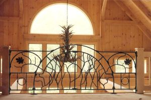 Balcony Railing.  Mild steel.  Painted finish.  Private Residence, River Hills, WI.