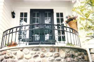 Porch Railing.  Mild steel.  Painted finish.  Private residence, Egg Harbor, WI.