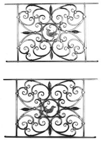 Two railing Panels.  There was one more ornate panel along with these two.  Mild steel.  Powder coat finish.  Private residence, Sister Bay, WI.