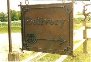 Delivery sign detail.
