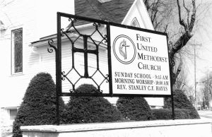 "Methodist Church Sign.  Mild steel.  Painted finish.  ""First United Methodist Church"", Campbellsport, WI."