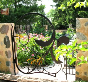 Spider Web Gate.  Mild steel.  Painted finish.  Private residence, Cedarburg, WI.
