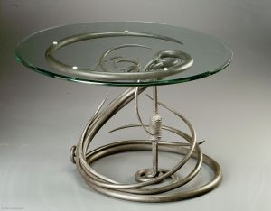 Coffee Table.  Mild steel.  Gilders Paste (TM) finish.  Artist's collection.