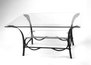 Coffee Table.  Mild steel and glass. Natural finish.  Private residence.