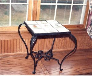 Side Table.  Mild steel and tile.  Natural finish.  Shorewood, WI.
