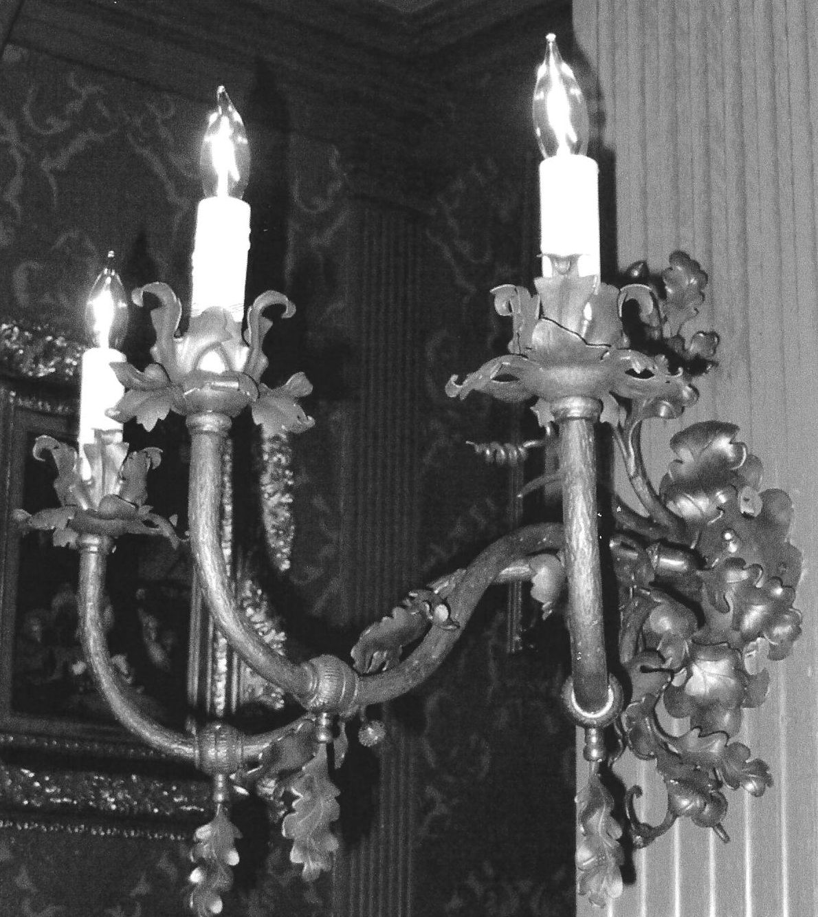 Forged lighting and candlesticks by dan nauman bighorn forges wall sconce to match the elk antler chandelier pabst mansion milwaukee wi arubaitofo Gallery