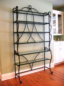 Baker's Rack.  Mild steel and glass.  Natural finish.  Private residence.  Delevan, WI.