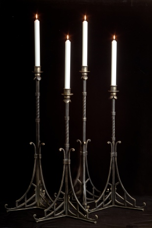 "Two 36"" and two 42"" altar candlesticks for St. Patrick's Catholic Church."