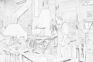Dan in shop Line drawing